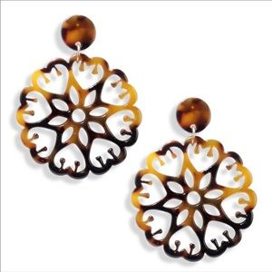 Acrylic Tortoise Shell Filigree Earrings